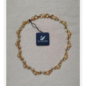 Retired Daniel Swarovski Signed Wedding Flower Rose Gold Crystal Necklace